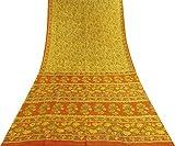 Vintage Indische Reine Seide Gelb Saree Floral Ethnic Craft