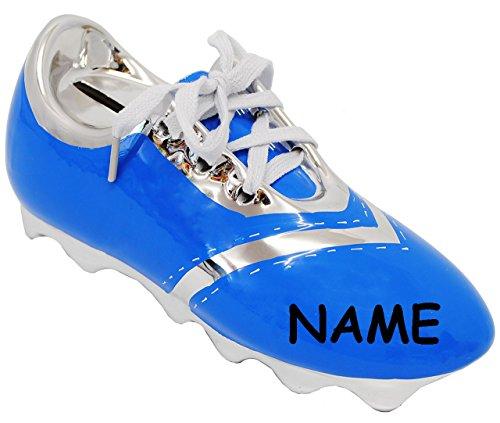 alles-meine.de GmbH 3-D Effekt _ Spardose -  Fußballschuh / Sportschuh - Schuh - blau  - incl. Name - mit echten Schnürsenkel ! - stabile Sparbüchse aus Porzellan / Keramik - F.. -