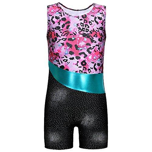 DAXIANG Enfant Fille sans Manches Vêtements de Gymnastique Justaucorps (Rose Fleurs, 150(10-11Ans))