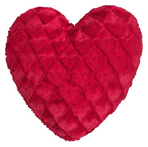 Fluffy Hearts Herzkissen kuschelweicher Plüsch in Felloptik (rot)