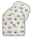 Amilian® Kinderwagenset Baby Bettwäsche Garnitur für Kinderwagen Kissen Decke Füllung Eule ecru klein/ecru (2 tlg.)