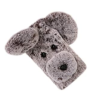 Weichem plüsch Hund Gemustert Telefon case Nette Mode Winter warm halten Pelz stoßfest Phone Cover Shell für Apple iPhone 6 / 6s (braun)