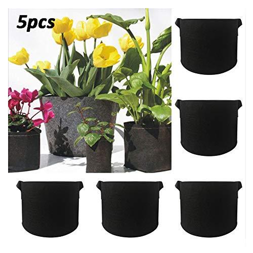 Indoor-ersatz (Profi Pflanztopf Soft Rund Blumentopf Hochwertiger PP Kunststoff Perfekt für Indoor & Outdoor Garten Grow Box Anzucht Topf für kleine Pflanzen Sämlinge und Stecklinge (2 Gallon 5PCS))