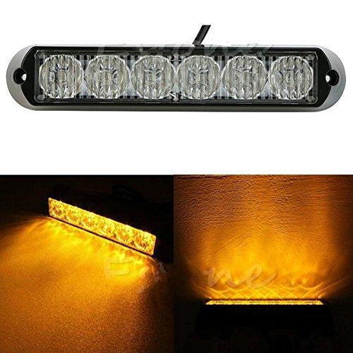 Yosoo DC 6LED Lumière Flash 12V/24V 18W étanche ambre Auto Truck Beacon Éclairage de secours Lampe Avertissement 18*3*2,9 cm