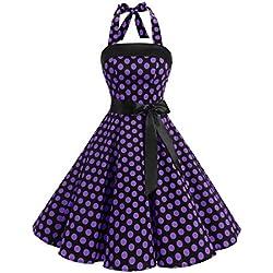Timormode 10212 Vestido De Vintage Cóctel 50s Elegante Mujer con Cinturón Negro Violeta M