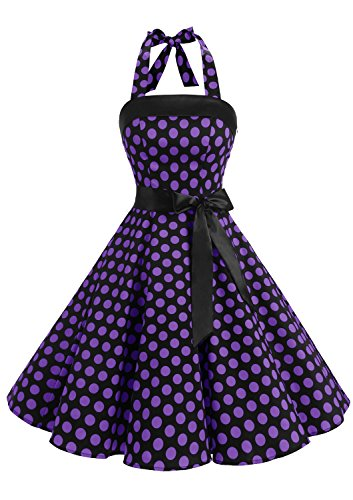 Timormode 10212 Damen 1950er Vintage Abendkleid Elegant Neckholder Retro Cocktailkleid Faltenrock Kleid Partykleid Cocktailkleid L Groß Schwarz Violett (Neckholder-kleidung)