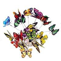 New_Soul 50 mariposas de colores para jardín, decoración de patio, plantas al aire libre, césped y patio