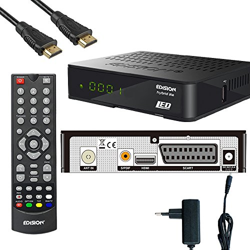 Kabelabel Edision Kabelreceiver Hybrid für digitales Kabelfernsehen inkl. HDMI Kabel Set: (2.DVB-C (+Scart,Display))