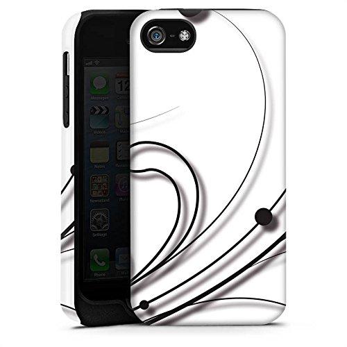 Apple iPhone 5s Housse étui coque protection Vrilles Blanc Blanc Cas Tough terne