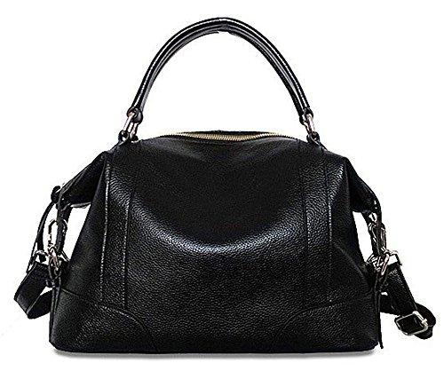 Xinmaoyuan Damen Handtaschen Damen Handtasche aus Rindsleder Schulter Messenger Bag Fashion Handtaschen aus Leder Schwarz