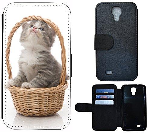 Flip Cover Schutz Hülle Handy Tasche Etui Case für (Apple iPhone 5 / 5s, 1281 Pferd Hengst Weiß Blau) 1280 Baby Katze Kätzchen Grau Braun