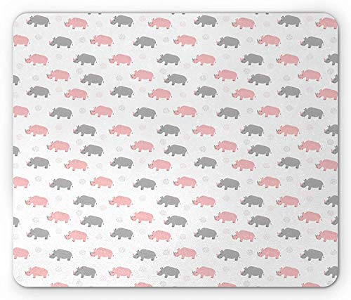 Diagonal Dots (Kids Animal Mouse Pad, Diagonal Pattern of Rhinoceros in Soft Grey and Pink Shades with Dots, Standard Size Rectangle Non-Slip Rubber Mousepad, Pale Pink Grey White)