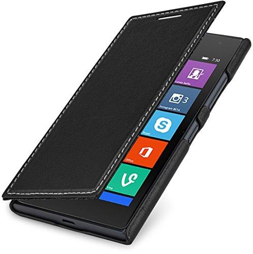 StilGut Book Type Case, Hülle aus Leder für Nokia Lumia 730 & Lumia 735, schwarz Nappa