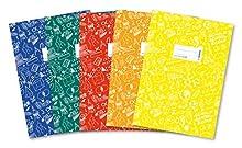 Herma 20211 Lot de A4 schooly DOO, plastique, Set avec 5 pièces de chaque 1 Protège-cahier en bleu, rouge, vert, jaune, orange, avec motif
