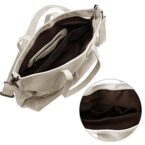 Cremig Griff Riemen Doppel Leinen Damen Einkaufstasche groß Beige Material Umhängetasche BMC Top vqO7FAWw