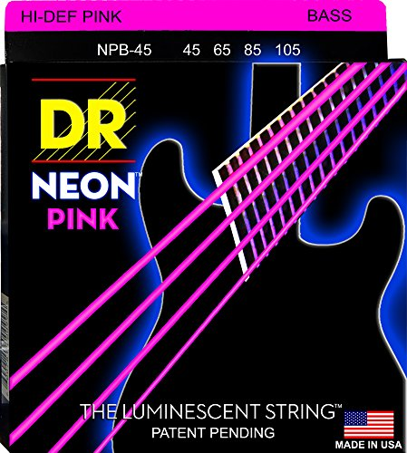 DR Strings NPB-45Vernickelte pinke High Definition-Saiten für Bassgitarren, mittel (Bass-saiten Leuchtende)