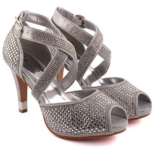 Unze Le nuove donne Ladies 'Elizza' Crystal Diamante accentati Low Mid tacco a spillo da sera, da sposa, Prom del partito del sandalo talloni di formato 3-8 Argento