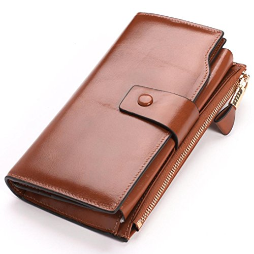Malloom® Women Leather Three fold Wallet Coin Purses Credit Card Holder Pocket (braun) -