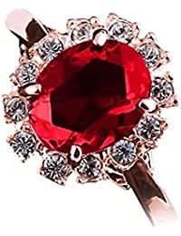 18K Rose Gold Plated, Oval Cut Ruby Red and 13 Clear Round Cut Crystal Elements, Band Ring, 4.5Gms