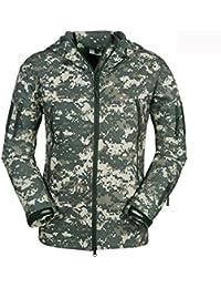 WE&ZHE Chaqueta de los hombres suaves chaquetas de Shell al aire libre camuflaje ropa capa Soft Shell con terciopelo con capucha impermeable aislado otoño y alpinismo de invierno . 3# . xxxl