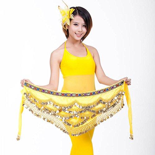 Belly Dance Hip Écharpe Ceinture Jupe avec 328Pièces jaune