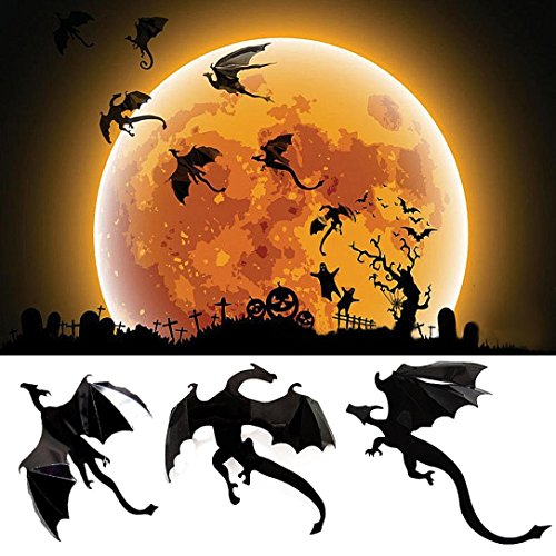 Halloween Wandaufkleber,Rosennie Gothic Wallpaper Wandaufkleber Stickers Dekoration Game Power inSpired 3D Dragon Decoration Halloween Wanddeko Wandsticker Moon Wandtattoo Wandsticker (Schwarz)