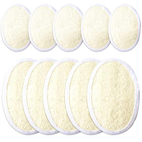 Ckanday confezione da 10 pastiglie di loofah esfoliante, naturale al 100% con spugna di luffa e spugna spazzola per pulire la pelle per il bagno spa uomo donna per la doccia, 2 taglie