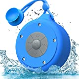 AOOE Wasserdichte Bluetooth Lautsprecher Dusche Lautsprecher 5W IP64 Wasserdicht Außen-Lautsprecher Duschradio mit Freisprechfunktion, Saugnapf und Praktischer Schnalle für Outdoor, Dusche (Blau)