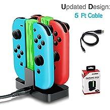 LILY Cargador para Nintendo Switch, 4 en 1 Joy-Con Cargador de Batería Cargador de Batería Cargapara 4 Controller Dock Station con indicador LED