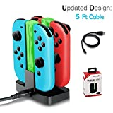 LILY Caricabatteria per Nintendo Switch, 4 in 1 Joy-With Battery Charger Caricabatteria per 4 Controller Dock Stazione con Indicatore LED