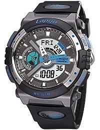 Exhibición doble / reloj electrónico de múltiples funciones / reloj militar luminoso / reloj de los deportes / tabla de salto impermeable / relojes de los hombres , black blue n4
