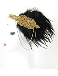 Black & Gold Feather Headpiece Vintage 1920s Headband Flapper Great Gatsby R64 *EXCLUSIVELY SOLD BY STARCROSSED BEAUTY* by Starcrossed Beauty