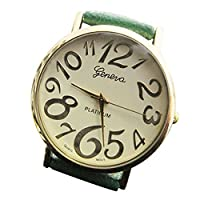Students Wristwatch Arabic Numerals Dial Analog Quartz Watch with Faux Leather Strap (Green)