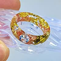 Anello in resina con AAA + Zircone Chiaro, Diamante simulato, scaglie dorate e di rame