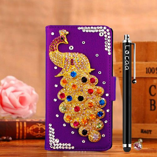 locaatm-pour-alcatel-onetouch-flash-plus-2-3d-bling-paon-case-coque-3-in-1-etuis-cuir-qualite-housse