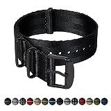 Archer Watch Straps | Bracelet de sécurité tissé en nylon, qualité supérieure NATO | Bracelet de montre robuste de style militaire | Noir / Pièces noires, 20mm