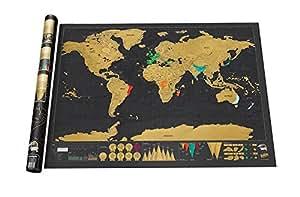 """LifeUp- Mappa Dell'Europa Vintage Design Diario di Viaggio """"Grattare Via"""" Personalizzato, Regalo Originale Natale per Te/Amici/Mamma Papa Bambini Manifersto Creativo, Avventura !"""