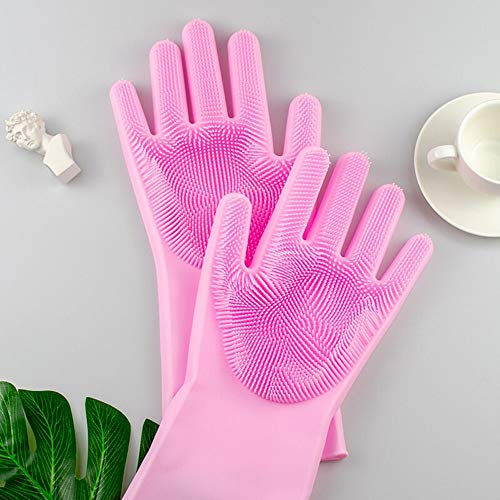 Pari Ent Silicone Kitchen Cleaning Magic Gloves for Dish-Washing Microfiber Rubber Dish Washing with Brush Cleaning Scrubber - 1 Pair