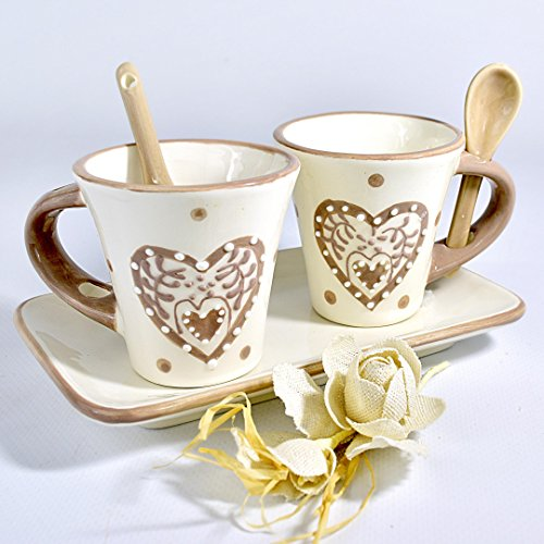 Albalù italia bomboniere set 2 tazzine ceramica shabby chic con vassoio