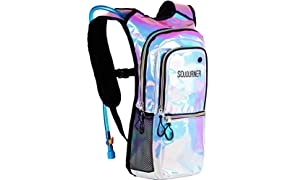 SoJourner Bags Rave Hydration Pack Backpack - 2L Water Bladder Included For Festivals, Raves, Hiking, Biking, Climbing, Running And More