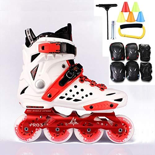 ZPLHX Inline Skates Professionali Pattini a rotelle Adulti Gioventù principiante Inline Skates (Color : White)