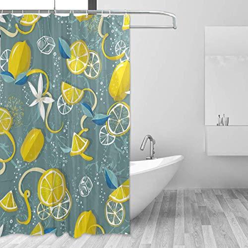AdaCrazy Frische Zitronen Gelb Muster Duschvorhang 3D-Druck Wasserdicht beschichtetes Polyestergewebe Bad mit 12 Haken 71 Zoll (Zitrone Gelb Duschvorhang)