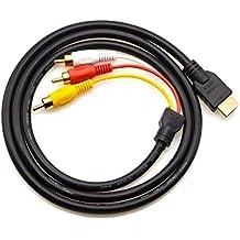 Cable HDMI a RCA, 1,5m, HDMI macho a 3RCA, vídeo audio componente AV, cable adaptador convertidor para HDTV PC DVD y la mayoría de los proyectores LCD (no para PS4) (negro)