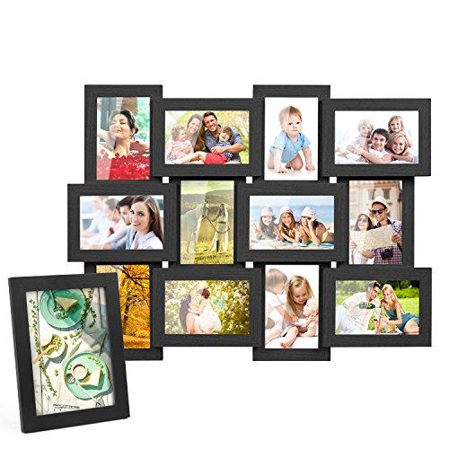 Weißen Bilderrahmen 10x13 (MVPOWER 13er Set Fotorahmen Bilderrahmen Foto Collage für 13 Fotos Hausdeko (10x15 cm, 13x18 cm) (13er Set Schwarz))