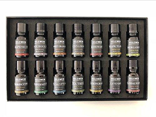 Yelewen Set de Aromaterapia 14 Aceites Esenciales 100% Puro y Set de Regalo de Aceites Aromático de Grado Terapéutico – 14/10 ml Kit (Menta, Árbol de Té, Olíbano, Naranja Dulce, Eucalipto, Bergamota, Pachulí, Limoncillo, Canela, Ylang Ylang, Sándalo, Romero y Pomelo)