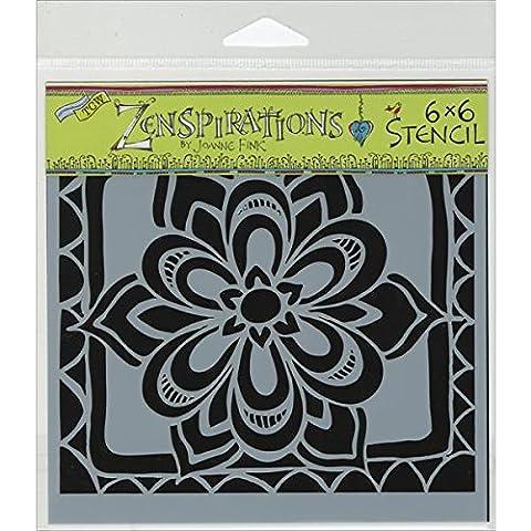 The Crafter's Workshop 6 x 6-inch Zen Flower Stencil, Black/