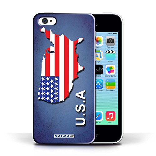 iCHOOSE Hülle / Hülle für Apple iPhone 5C / harter Plastikfall für Telefon / Collection Flagge Land / Griechenland/Greek Amerika/Amerikaner/USA
