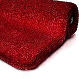 Badematte | Kuscheliger Hochflor | Rutschfester Badvorleger | Viele Größen | Zum Set Kombinierbar | Öko-Tex 100 Zertifiziert | 50x80 cm | Berry Red (Rot)