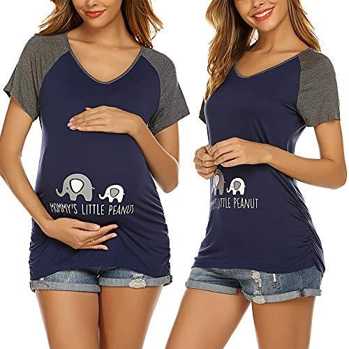 Unibelle Damen Kurzarm Umstandsshirt Mutterschaft Klassische Seite Geraffte T-Shirt Tops Mama Schwangerschaft Kleidung