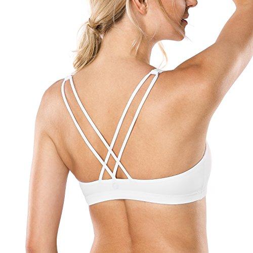 CRZ YOGA - Sujetador Deportivo Yoga Cruzados Espalda Sin Aros para Mujer Blanco M